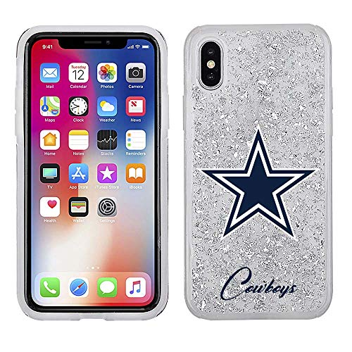 (NFL Licensed Dallas Cowboys Clear Protective Silver Glitter Case - iPhone X/Xs)