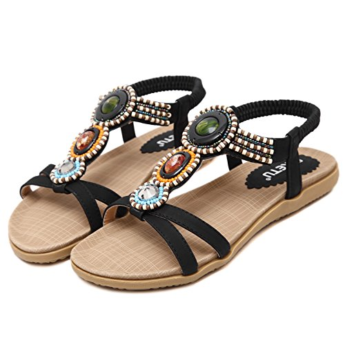 Abby 148-A9 Womens New Stylish Bohemian Exquisite Folkways Pretty Stones Non Skid Shoes Pliable Flat Heel Fresh Open Toe Sandals Casual Beach Leisure Slip On Elastic Steady Black kKiOFKPci