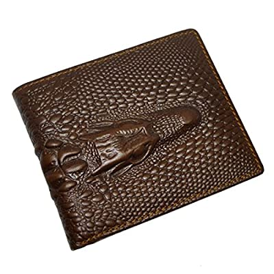 Le'aokuu Mens Genuine Leather Bifold Wallet Purse Organizer Crocodile Embossed