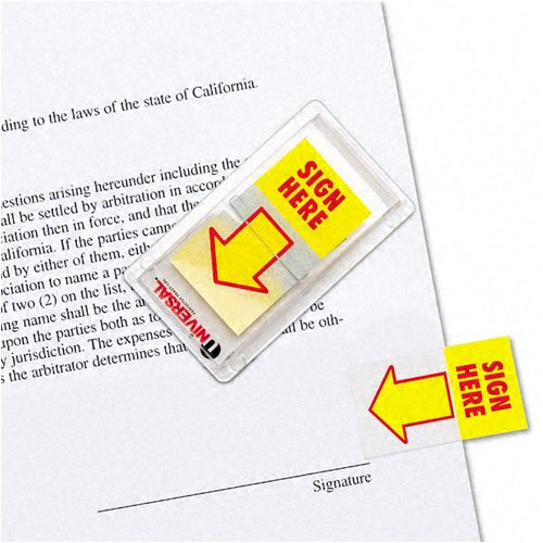 Universal : Arrow Page Flags, ''Sign Here'', Yellow/Red, Two Dispensers of 50 Flags Each/Pack -:- Sold as 2 Packs of - 100 - / - Total of 200 Each