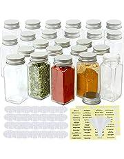 SimpleHouseware Square Spice Jars Bottles (4oz) w/labels, 24-Pack