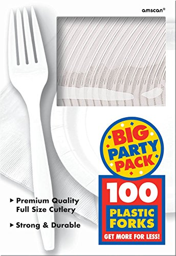 Amscan 43600.08 Big Party Pack Premium Plastic Forks, 7.3