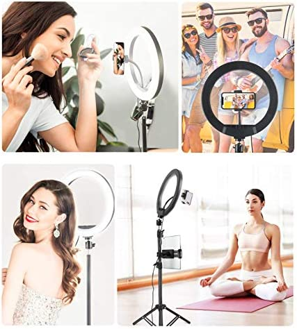 "Kiaitre 10.24"" Ring Light for ipad - Ring Light with Tablet Holder & Cell Phone Holder, Selfie Ring Light with Tripod Stand for Live Stream/Makeup, YouTube Video Photography"