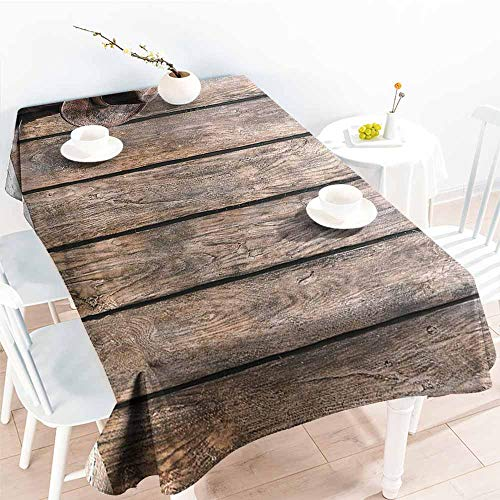 Homrkey Polyester Tablecloth Western Decor Wild West Boots in Wooden Room Folkloric Old Fashioned Wild Sports Theme Image Brunette Washable Tablecloth W40 xL60