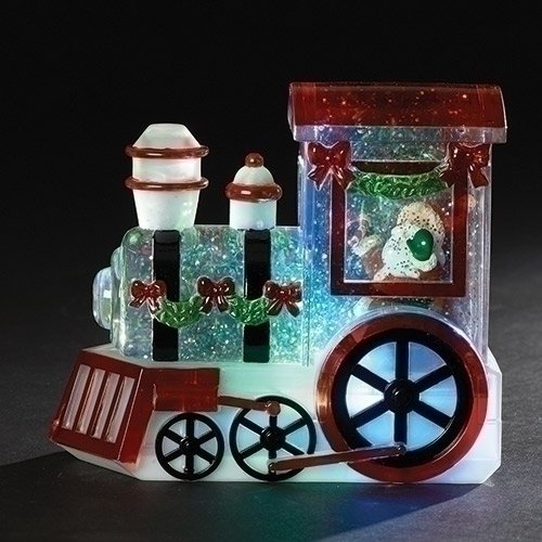 Roman Confetti Santa Claus Train LED Light-up 6 x 7 Inch Table Top Glitterdome