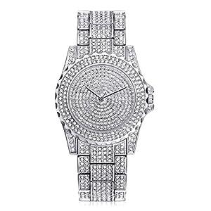 HARRYSTORE Crystal Watches Women Quartz Wristwatch Clock Ladies Dress Gift Watches Silver