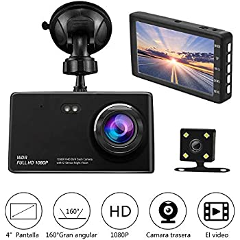 "Camara de Auto Dual Dashcam,Camara para Coche Full HD 1080P G-Sensor Vision Nocturna con Monitoreo de de Aparcamiento con Pantalla LCD de 4.0"" IPS HD Lente Amplio de 160°"