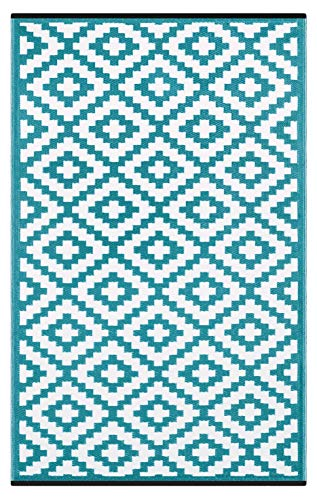 Lightweight Outdoor Reversible Plastic Nirvana Rug (6 X 9, Teal Blue/White) Aruba Blue Area Rug