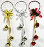BANBERRY DESIGNS Christmas Door Hangers - Set of 3 Jingle Bell Hangers - Red, Silver and Gold Finish - Christmas Decorations