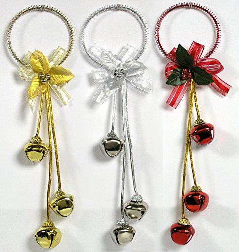 Red Jingle Bell (Christmas Door Hangers - Set of 3 Jingle Bell Hangers - Red, Silver and Gold Finish - Christmas Decorations)