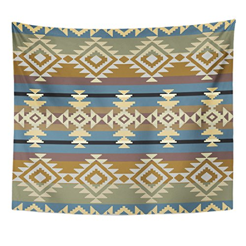 Emvency Tapestry Aztec Navajo Inspired Geometric Pattern American Native Abstract Ancient Home Decor Wall Hanging for Living Room Bedroom Dorm 50x60 Inches