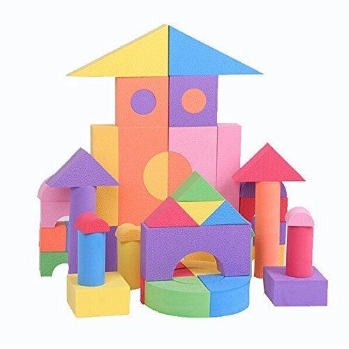 coffled ® 50 Pcs Baby Education EVA Foam Building Block Set Foambuilding Colored Blocks Toys Birthday Christams gift (Colored Unit Blocks compare prices)