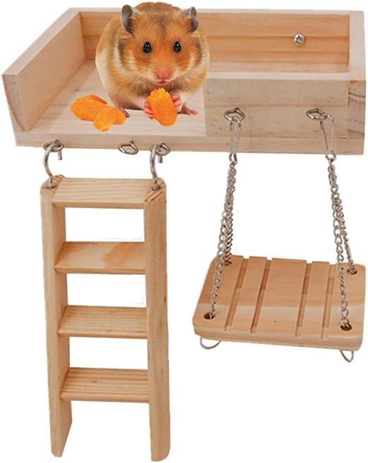 JanYoo Gerbil Toys - Escalera de Madera para hámster Enano, Escalera, pequeña, Kit de Escalada, Accesorios para cobaya, Chinchilla, Erizo: Amazon.es: Productos para mascotas
