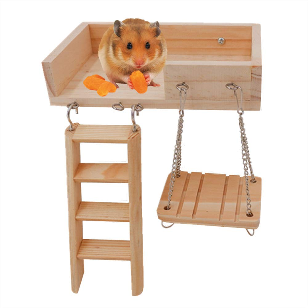 JanYoo Gerbil Toys Dwarf Hamster Wood Platform Ladder Hanging Swing,Small,Climbing Kits Cage Accessories for Guinea Pig,Chinchilla,Hedgehog by JanYoo