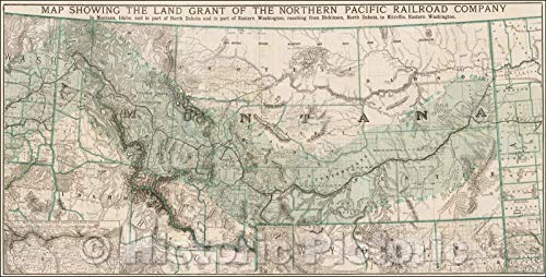Historic Map   Showing The Land Grant of the Northern Pacific Railroad Company In Montana, Idaho and in parts of North Dakota and in part of East Washington, 1890 v2 87in x 44in