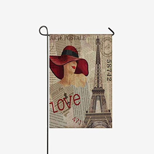 Vintage Paris Decor Eiffel Tower Sexy Pin Up Girl in Newspap