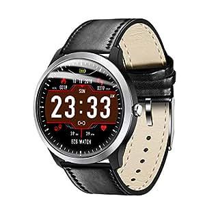 YOMRIC Relojes Inteligentes para Hombres Reloj Deportivo con Monitor de Ritmo cardíaco, IP67 Monitor de Actividad a Prueba de Agua con Monitor de sueño con podómetro de calorías (Color : Black)