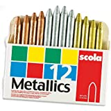 Scola Metallic Wax Crayons for Children Gold Silver Bronze for Children to Colour and Decorate (Box of 12)