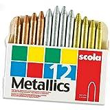 Baker Ross Crayons de cire métallisés dorés, argentés et bronze (Boîte de 12)