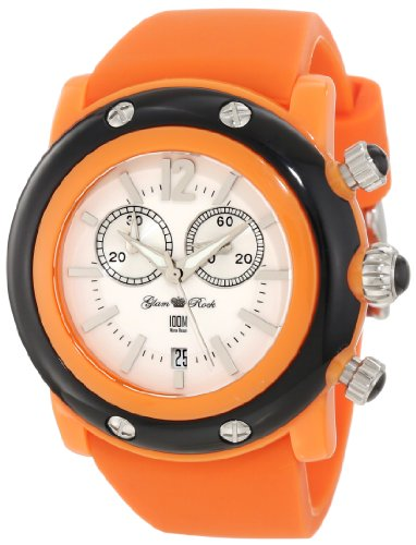 Glam Rock Women's GD1111 Miami Beach Chronograph White Dial Orange Silicone Watch