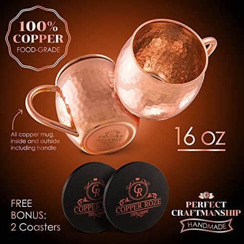 Copper Roze Moscow Mule Copper Mugs by KoolBrew Gift Set of 2 Copper Mule Mugs and 2 Coasters 100/% Pure Solid Copper Cups with Hammered Finish