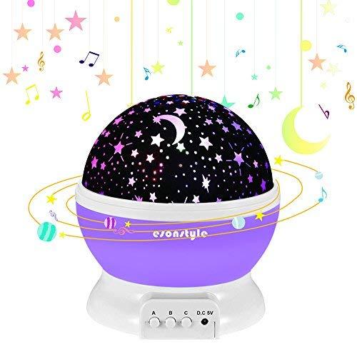 ESONSTYLE 星空投影ライト 子供へ スタープロジェクター 投影ランタン 月と星の照明ランプ 子供への魔法 7色変化モード LED電球 360°回転 家庭用 ロマンチック 結婚式、誕生日、パーティー、寝室、子供部屋、 赤ちゃんの保育園 雰囲気つくり USB充電式と乾電池 (パープル)