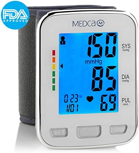 Blood Pressure Cuff Wrist – Blood Pressure Monitor and Portable Fully Automatic BP Machine Band with Large Backlit LCD Display for Fast Accurate Reading by MEDca