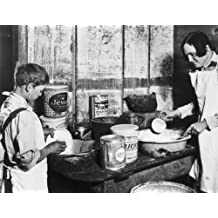 1930 photo Woman and boy working in kitchen during drought. Glimpse of the ho c6