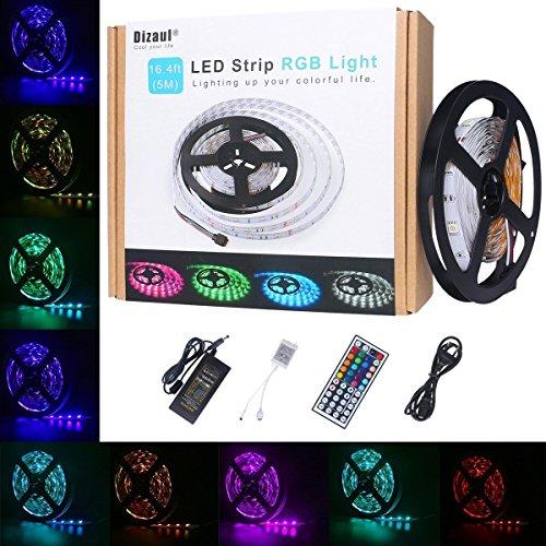 Led Strip,dizauL 5M LED Lichterkette RGB SMD5050 Led Streifen mit 150 LEDS inkl. 12V Netzteil & IR Fernbedienung mit 44 Tasten & Zwischenstecker