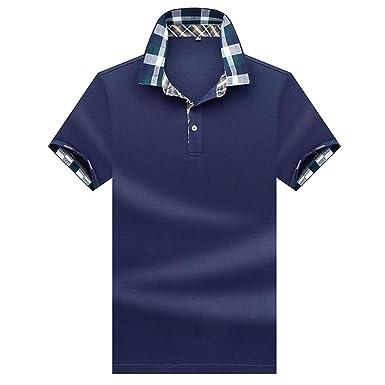 Polo Hombre Manga Corta Camiseta Casual 100% Puro Algodón - Azul ...