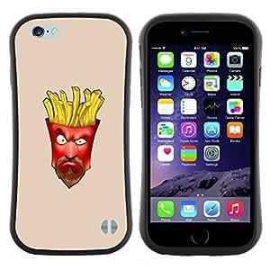 "Pulsar iFace Series Tpu silicona Carcasa Funda Case para Apple iPhone 6 / 6S (4.7 INCH) , Comida chatarra papas a la francesa del bigote de la barba del hombre"""