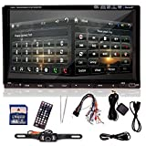 "Ouku Brand 7"" inch Double 2 Din TFT Touch Screen In-dash Vehicle Car DVD CD MultiMedia Player with Ipod-input, Nav Navigation-ready GPS, RDS, ATV(best Seller) + Free 4GB Official Kudos GPS Map Card for Noth America+ Free Rear View Backup Reversing Camera as Gift"