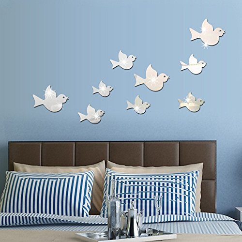 Ghaif Flying Bird mirror wall mount stereo posters on the wall in the living room sofa bedrooms are simply decorated animal sticker silver color. by Ghaif
