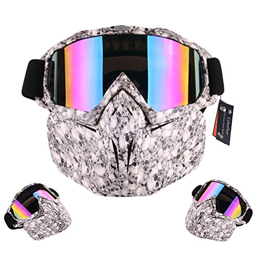 CyberDyer Anti-Fog Windproof Motorcycle Safety Goggles Full Face Mask Ideal For Riding Snowmobile Skiing Or Halloween Party (Skeleton)