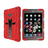 KAMII iPad Mini Case, iPad Mini 2 Case,iPad Mini 3 Case, [Heavy Duty] 3in1 Hybrid Rugged High Impact Resistant Shockproof Full-body Protective Kickstand Cover for Apple iPad Mini 1/2/3 (Red+Black)