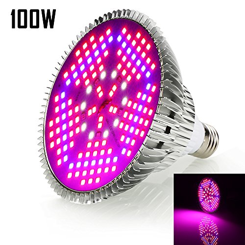 LED Grow Light Bulb 100W Led Full Spectrum,IR UV Plant Light Bulb LED Grow Lights for Indoor Plants Veg Flower Hydroponics Vegetables Seedlings and Greenhouse with E26 / E27 Energy Saving(120LEDS)