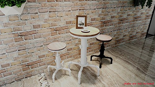 American Antique Industrial Solid Wood Water Pipe Design Cafe Coffe Industrial Bar Table (Antique White)