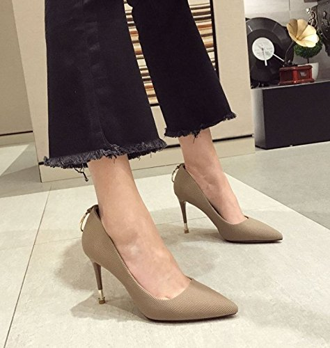 Spring 37 MDRW Single A Fine Shoes Women'S Apricot All Lady Shoes Elegant Leisure Suede With Point Heels High 9Cm Fashion Match Work rqFqIP1