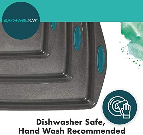 Rachael Ray 47576 3-Piece Cookie Pan Steel Baking Sheet Set, Grey with Agave Blue Grips