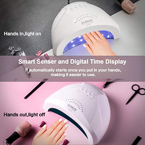 UV LED Nail Lamp SUNUV Gel Nail Light for Nail Polish 48W UV Dryer with 3 Timers SUNone