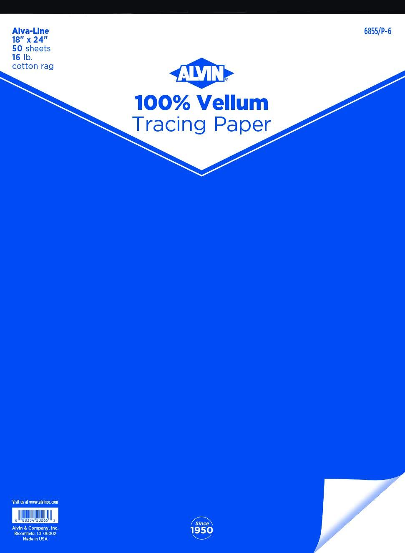 Alvin 6855//P-6 Alva-Line 100 percent Rag Vellum Tracing Paper 50-Sheet Pad 18 inches x 24 inches