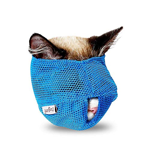 AUOKER Cat Muzzle Breathable Mesh, Air Cat Nylon Face Mask with Adjustable Buckle for Pet Cat Dog Bathing Or Trimming Grooming Nails Eliminate Potential Bites - Anti Bite, Anti Meow, Anti Chew (Blue)