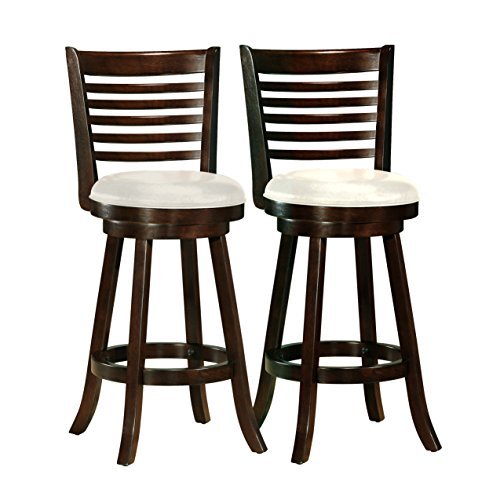 (CorLiving DWG-919-B Woodgrove Cappuccino Stained Swivel Bar Height Barstool with Leatherette Seat, 29'' Seat Height, Set of 2)