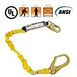 KwikSafety Yellow 6 foot Lanyard   Comfortable Premium Quality Fall Protection Safety Equipment w/ Shock Absorber & Snap Hooks   Roofing Construction Emergency Military   for Men Women   Single Leg