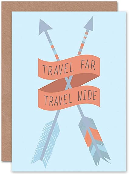 Travel Far Wide Arrows Blue Art Greetings Greeting Card Gift Amazon Co Uk Kitchen Home