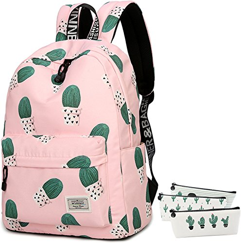 School Bookbag for Girls, Cute Cactus Water Resistant Laptop Backpack College Bags Women Travel Daypack + 3 Pieces Canvas Cactus Pencil (Days Iii Canvas)