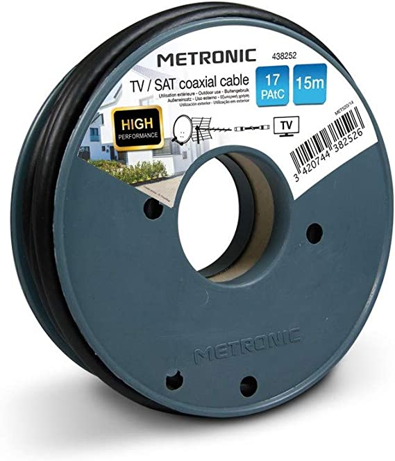 Metronic 438253 - Cable coaxial (25 m, Negro, 0.8 GHz, 17 dB, 6,8 ...