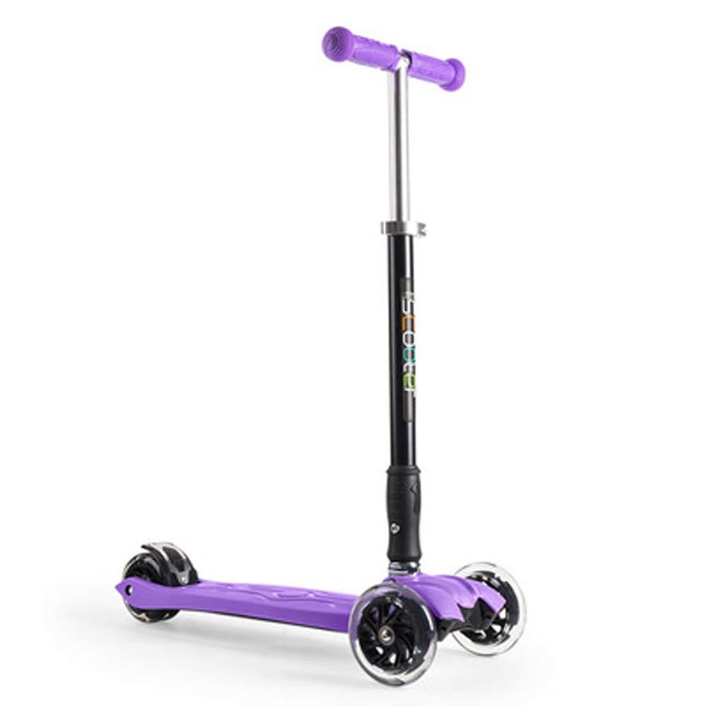 Giow Kinderroller, Allradblinker, Fußbremse, Klappbar, Höhenverstellung lila