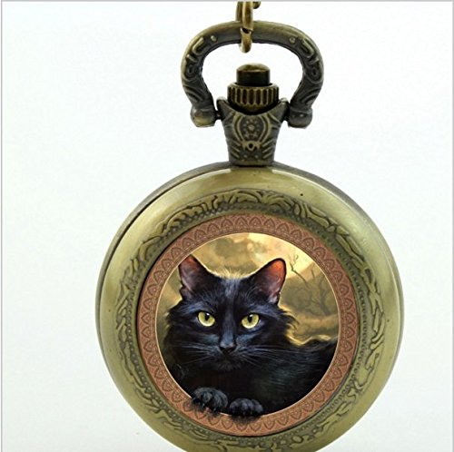 Cat Pocket Watch Necklace, Cat Quartz Pocket Watch Lovely Black Cat Jewelry ,for Lover - Buttons Black Vintage Glass
