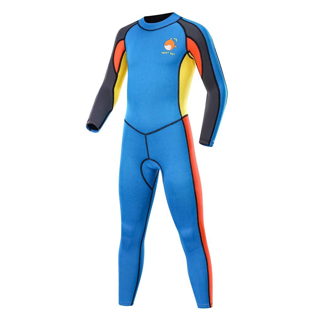 DiNeop キッズ ウェットスーツ フルボディ 暖かい 水着 ガールズ ボーイズ 2mm ネオプレン スキューバ サーフスーツ 長袖 ワンピース UV保護 サーマル ダイビング シュノーケリング 水泳 釣り ウォータースポーツ用 B07GZLXV46 ブルー Medium Medium|ブルー